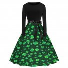 St. Patrick's Day Casual Vintage Dress Shamrocks Fashion Clothing Retro Midi Party Dresses