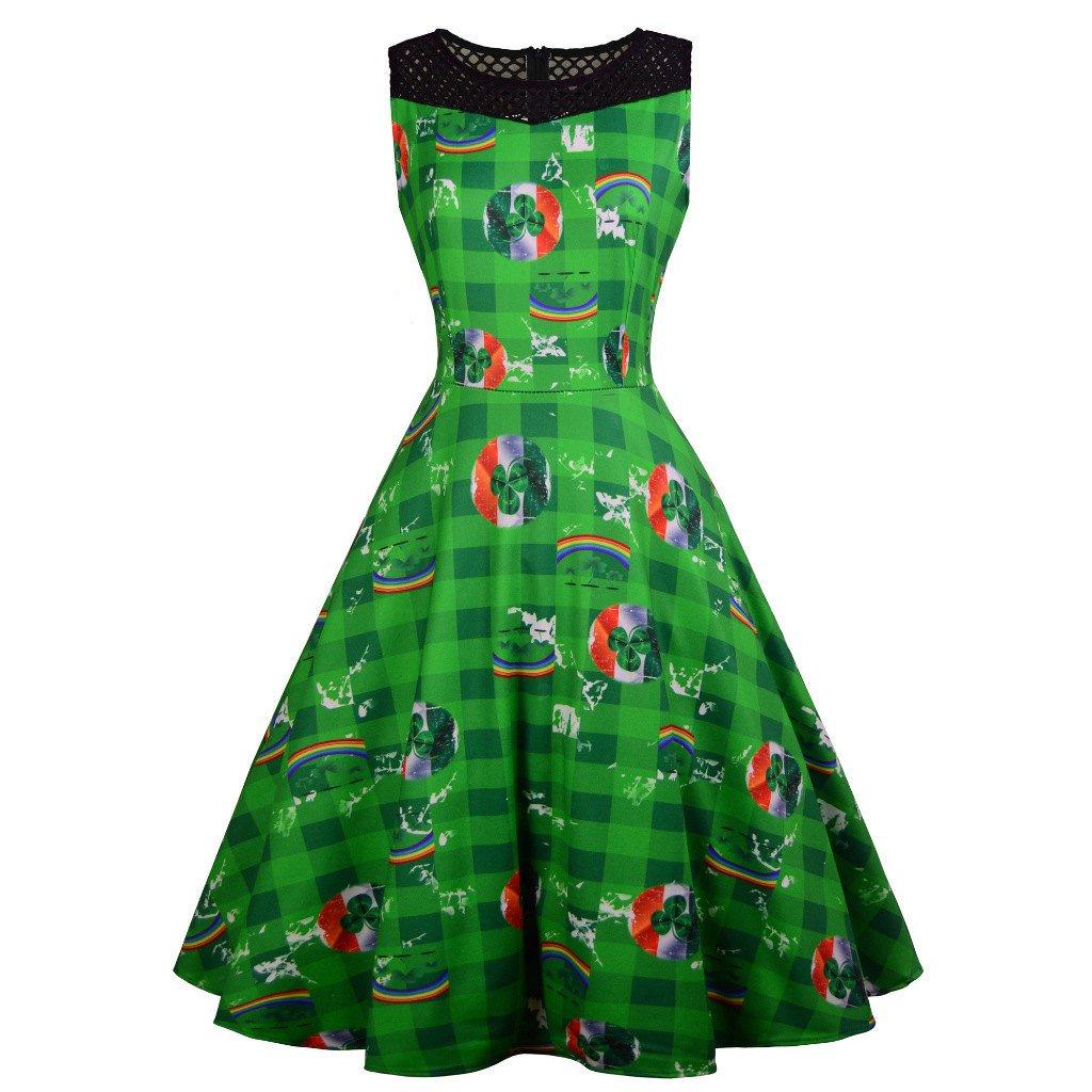 3D Print Retro Party Dresses St. Patrick's Day Casual Dress Shamrocks Fashion Ireland Fashion Wear