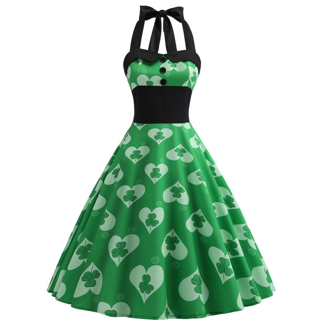 Sexy St. Patrick Party Dresses Green Ireland Celtic Shamrocks Print Super Size Retro Halter Dress