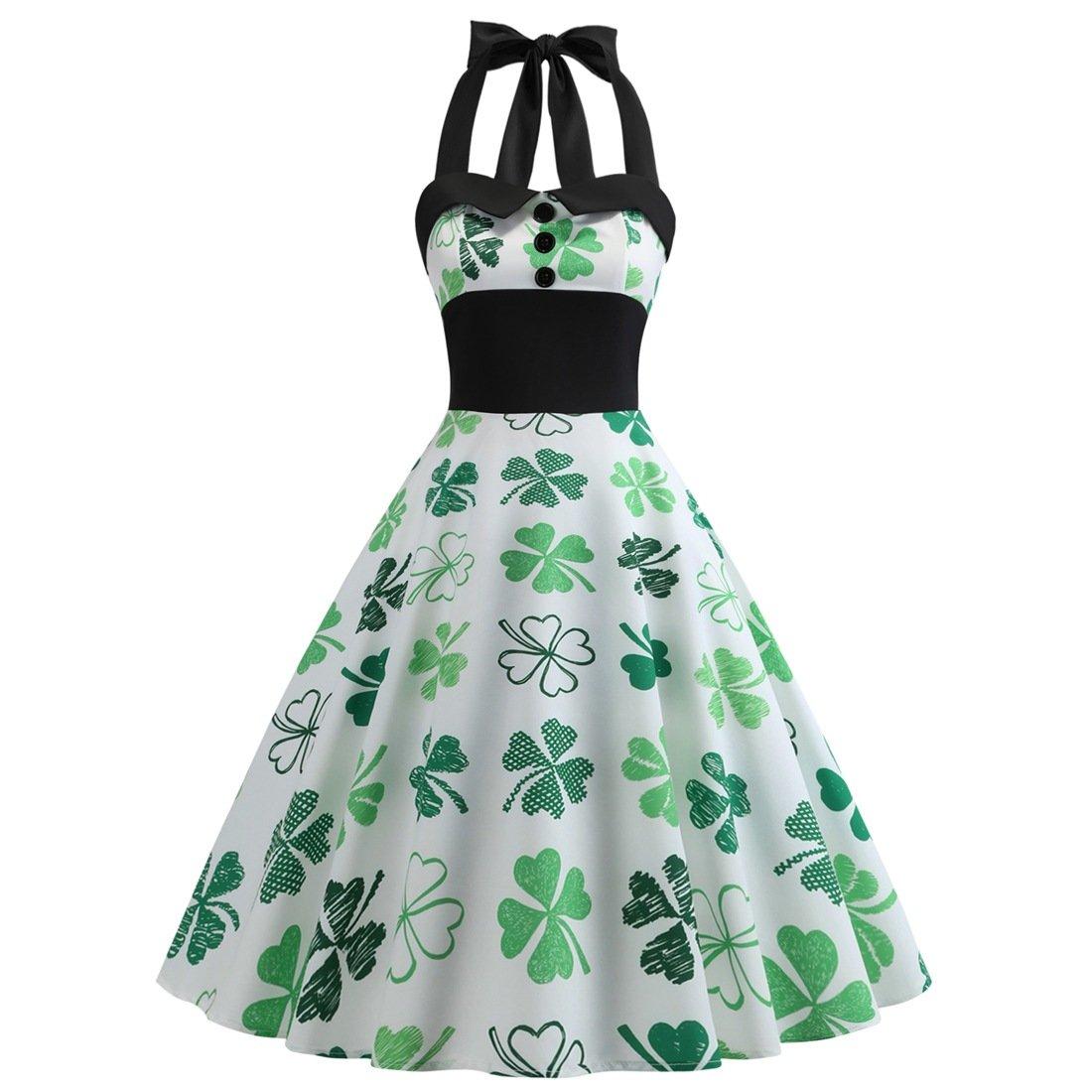 Plus Size Fashion Clothing St. Patrick Vintage Casual Dresses Shamrocks Printed Retro Party Dress