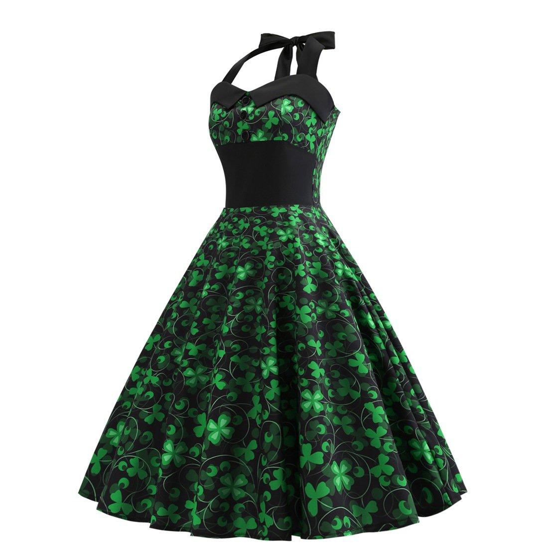 Green Celtic Retro Halter Dress Shamrocks Fashion Plus Size Vintage Sexy St. Patrick Party Dresses
