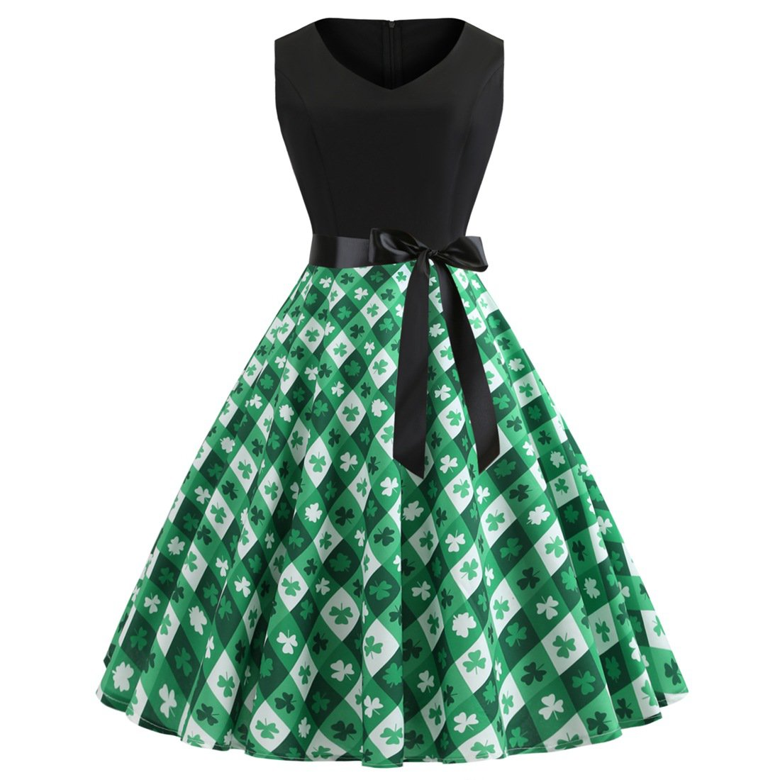 St. Patrick Day Retro Party Dress Celtic Festival Shamrocks Printed Costume Vintage Midi Dresses