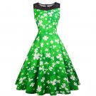 Shamrocks Retro Mid-Calf Party Dresses Costume Ireland Clothing St. Patrick Vintage Casual Dress