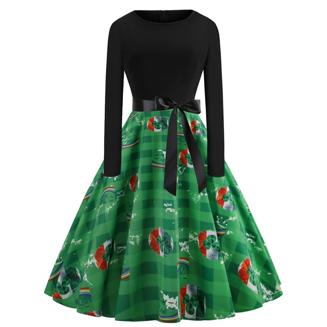 Retro Midi Party Dresses Shamrocks Costume Ireland Fashion Clothing St. Patrick Vintage Casual Dress