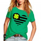 Women Shamrocks Print Shirts Irish St Patrick Blouses Ireland Festival Clothing