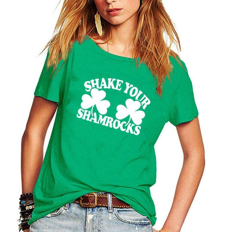 Women St Patrick Shirt Shamrocks Printing Tees Summer Streetwear Casual Tops