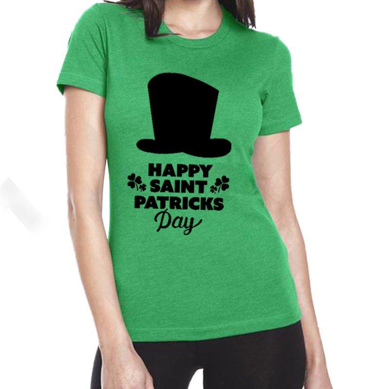Ladies Ireland Irish Shirts Shamrocks Leprechaun Hat Printed Tops St Patrick Day Blouses