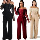 Fashion Spring Streetwear for Women Sexy Skinny Off Shoulder Casual Clothing Wide Leg Lace Jumpsuit