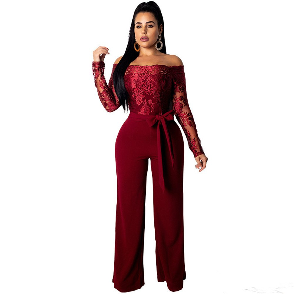 Women Sexy Sashes Off Shoulder Casual Clothing Wide Leg Lace Jumpsuit Fashion Spring Streetwear