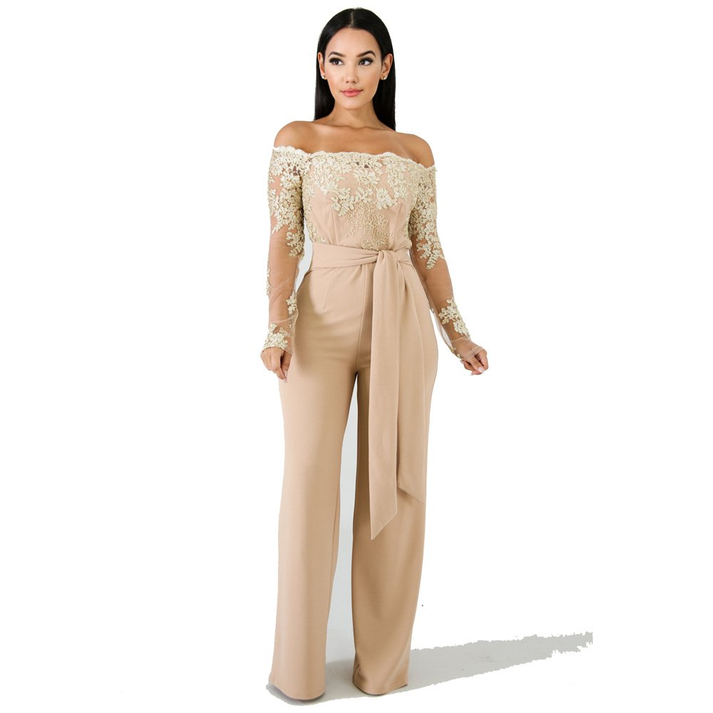 Fashion Lace Wide Leg Jumpsuit Spring European Streetwear Autumn Skinny Off Shoulder Casual Clothing