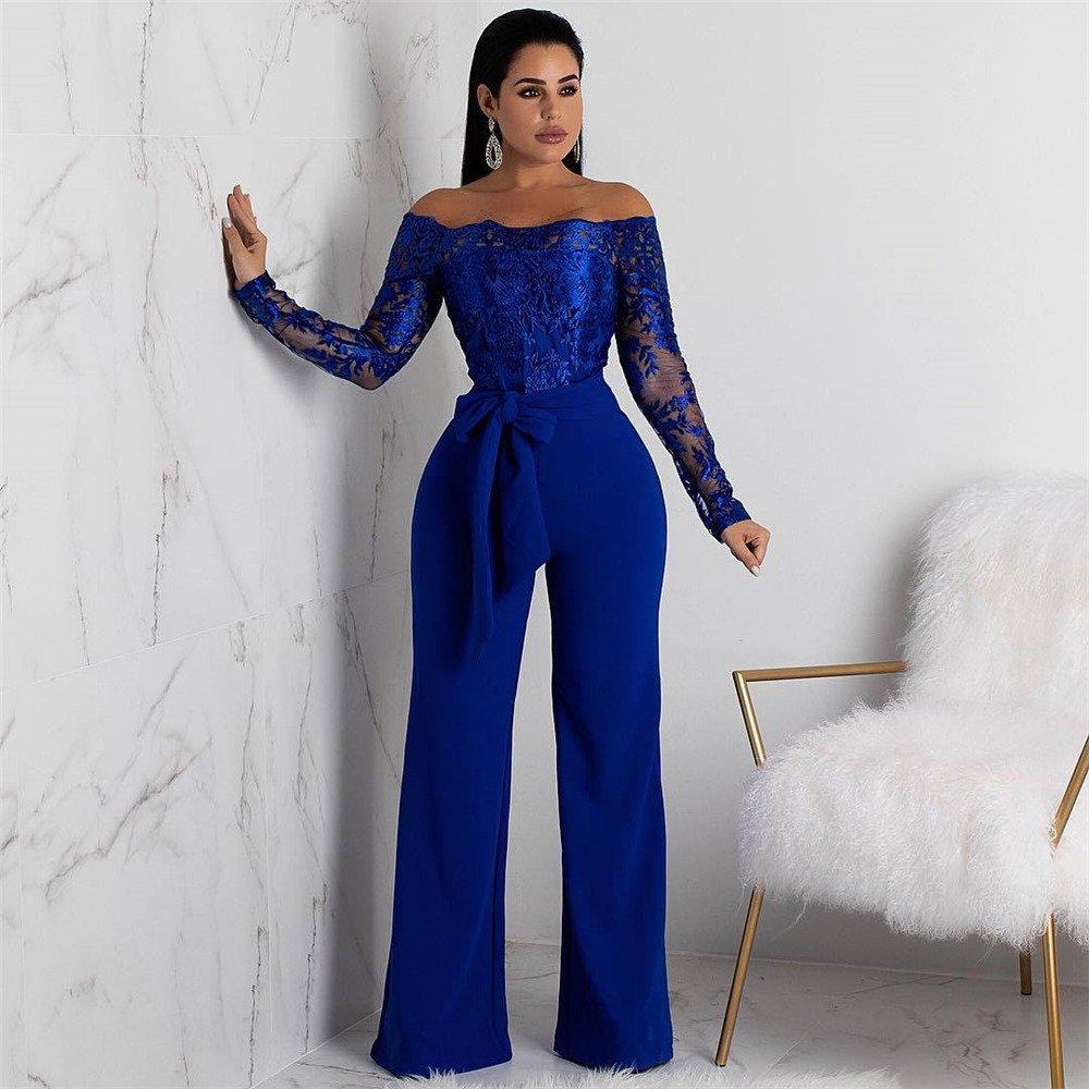 Women Long Sleeve Rompers Sexy Off Shoulder Fashion Spring Streetwear Lace Wide Leg Jumpsuit