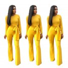 Crew Neck Slim Autumn Casual Spring African Style Wide Leg Rompers Plus Size Fashion Women Jumpsuit