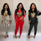Spring Women's Two Piece Pants Crew Neck Autumn Sweetheart Sequins Female Tracksuits