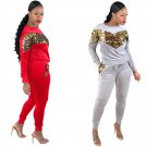 4 Colors Crew Neck Autumn Sweetheart Sequins Female Tracksuits Long Sleeve Fashion Hoodies