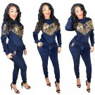 Women's Tracksuits Sweetheart Sequins Plus Size Hoodies Fall Autumn Ankle Length Pants