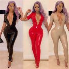 Skinny V-neck Latex Costume Catsuit Red Night Club Catsuit Sexy Bodysuit