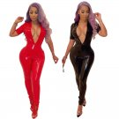 Red Sexy PVC Catsuit Costumes Plus Size Women Black Punk Erotic Motorcycle Latex Jumpsuit