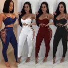 Sexy Summer Spaghetti Strap Rompers Hollow Out Women Skinny Lace-up Side Jumpsuit