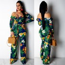 Fashion Summer Jumpsuits Large Size XXL Full Length Floral Printing Long Sleeve Clubwear
