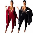 Summer Street Wear Fashion  Spring Break Clothes Deep V-neck Big Size American Women Lace Jumpsuits