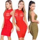 Summer Bodycon Midi Dress Women Beading Club Wear Fashion Cocktail Clothing Spring Break Clothes