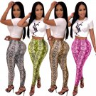 Beach Vacation Outfits Python Printing Leggings Trousers Fashion Break Clothes High Waist Tights