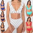 Women Polka Dot Swimsuits Sexy Bathing Suits Bikinis High Waist Teen Swimwear