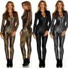 Skinny Zipper Boa Print Catsuit Costume Night Club Python Jumpsuit Sexy Bodysuit