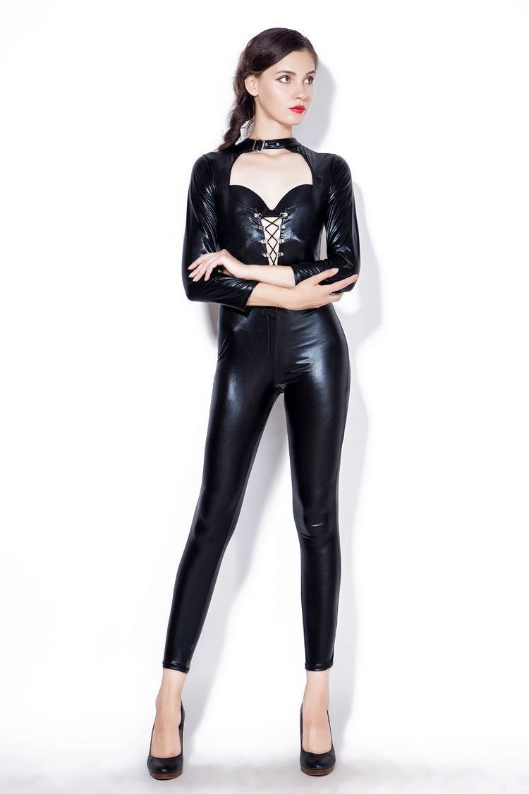 XL Size Fetish Costume Vinyl Sexy Club Bodysuit Plus Size Gothic Faux Leather Jumpsuit PVC Catsuit