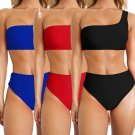 Fashion Summer Women Swimwear High Waist Bikinis One Shoulder Bandeau Swimsuits