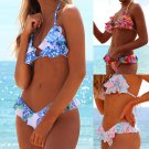 Women Halter Swimming Costume Two Piece Swimsuits Floral Beach Wear Ruffle Bathing Suits