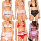 Women High Waist Beachwear Brazilian Tassel Bikinis Halter Swimsuit