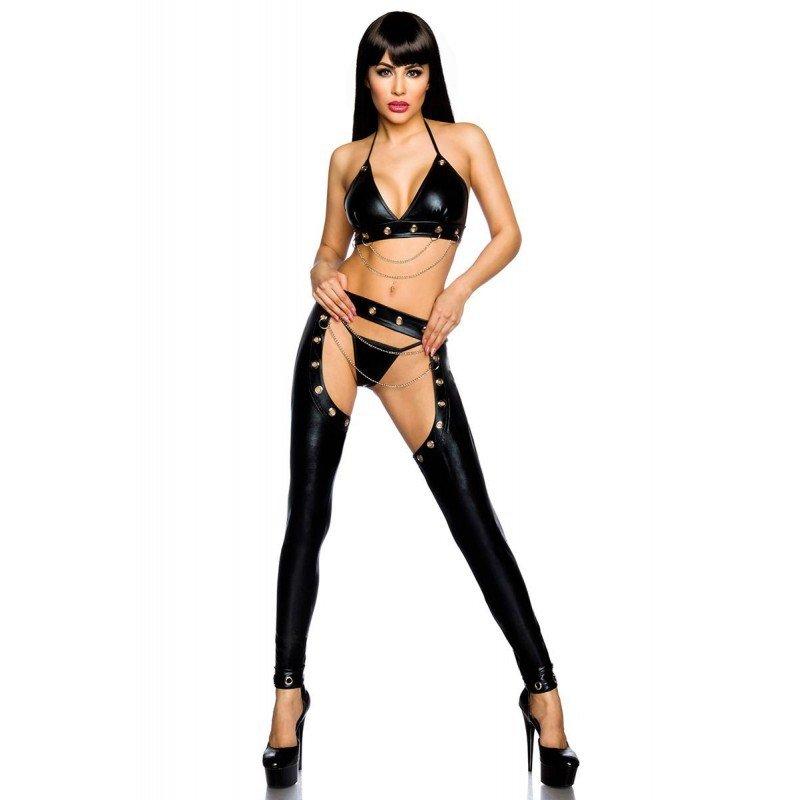 Black Faux Leather Sexy Bikini Sets PVC Fetish Night Club Wear Plus Size Open Crotch Pants