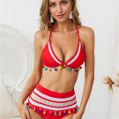 Sexy Halter Bikinis Mesh Designer Swimwear Women Tassel High Waist Beach Vacation Outfit