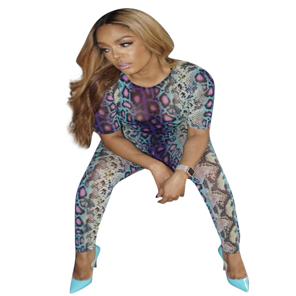 Digital Print Women Fashion Tracksuits Summer Short Sleeve Chic Tops Full Length Workout Clothes