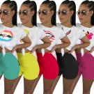 Plus Size 2XL Night Clubwear Short Sleeve Casual Tops Summer Women's Two Piece Short Pants