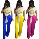 3 Colors Women's Two Piece Wide Leg Pants with Lips Print Tops High Waist Clubwear