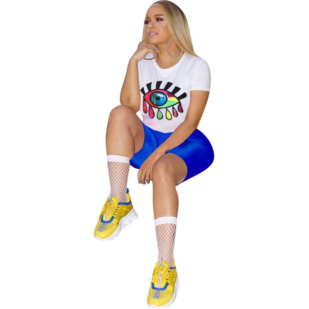 Summer Plus Size Trendy Clothing Lips Print Casual Tees with Short Skinny Pants