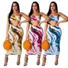 Fashion Summer Two Piece Dress Spaghetti Straps Digital Printing Tops with Maxi Skirt