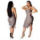 Spaghetti Strap Midi Dress Fashion Plus Size Party Dresses Python Boa Print Trendy Clothing