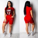 Plus Size XXL Size Women Novelty Knits Short Sleeve Female Slim Hip Pop Tops with Pants