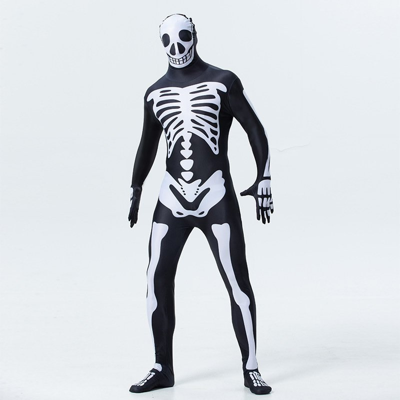 Halloween Skeleton Zentai  Carnival Ghost Uniform  American Horror Movie COS Jumpsuit