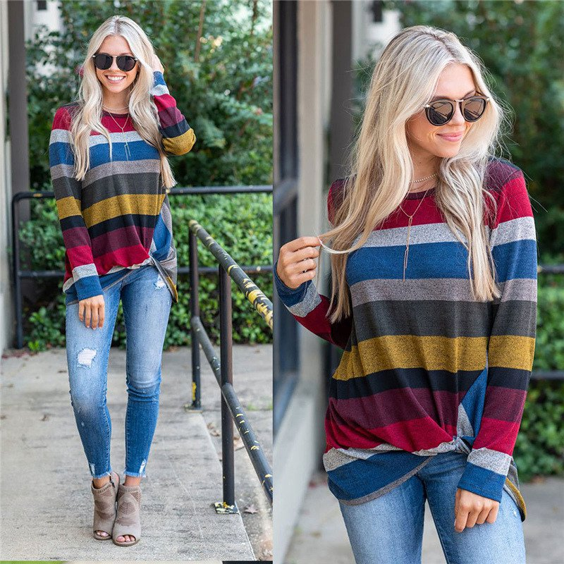 Fashion Woman Clothes Striped Color Shirts Big Size Crew Neck Fall Streetwear