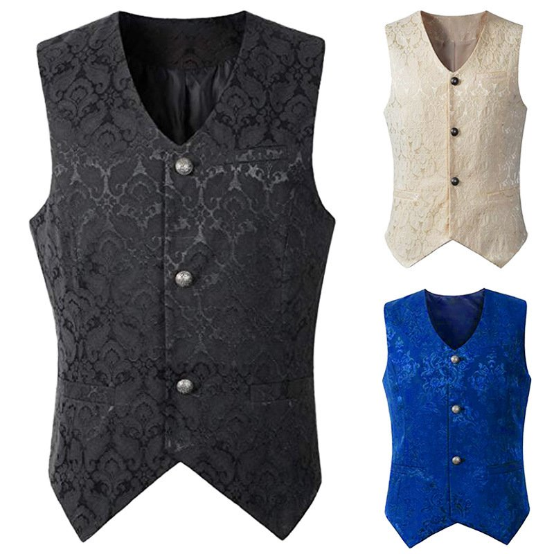 Men's Short Vest Punk Male Medieval Costume Vintage Jacquard Lace Waistcoat Retro Earl Costume