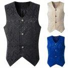 Men's Short Vest Punk Male Medieval Costume Vintage Jacquard Lace Waistcoat Retro Earl Costume