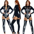 Halloween Black Skeleton Bodysuits Long Sleeve Fetish Onesies Carnival Erotic Pole Dance Jumpsuit
