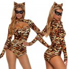 Carnival Fetish Onesies Lingerie Erotic Pole Dance Jumpsuit Brown Sexy Leopard Costumes