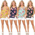 Women Floral Print Camisole Summer Loose Tees V-Neck Lady Hollow Out T-Shirt