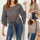Chic Women Chiffon Tops Fashion Petal Sleeve Loose Tees American Leaf Print Casual Break Clothes