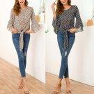 Fashion Women Chiffon Blouses Ruched Bow Petal Sleeve Loose Tops American Casual Sheer Shirt